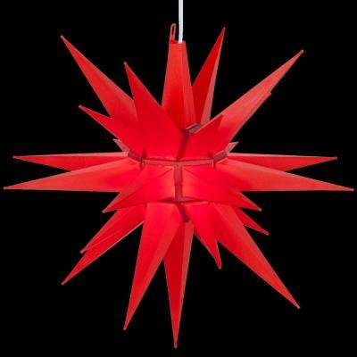 14 in. Illuminated LED Red Holiday Moravian Star