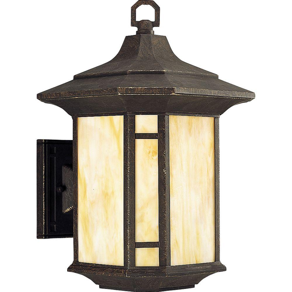 Progress Lighting Arts and Crafts Collection 1-Light Bronze Weathered 15.25 in. Outdoor Wall Lantern