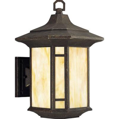 Arts and Crafts Collection 1-Light Bronze Weathered 15.25 in. Outdoor Wall Lantern Sconce