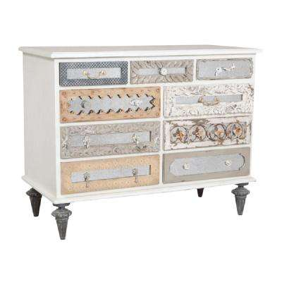 9-Drawer Garden Lattice White Dresser