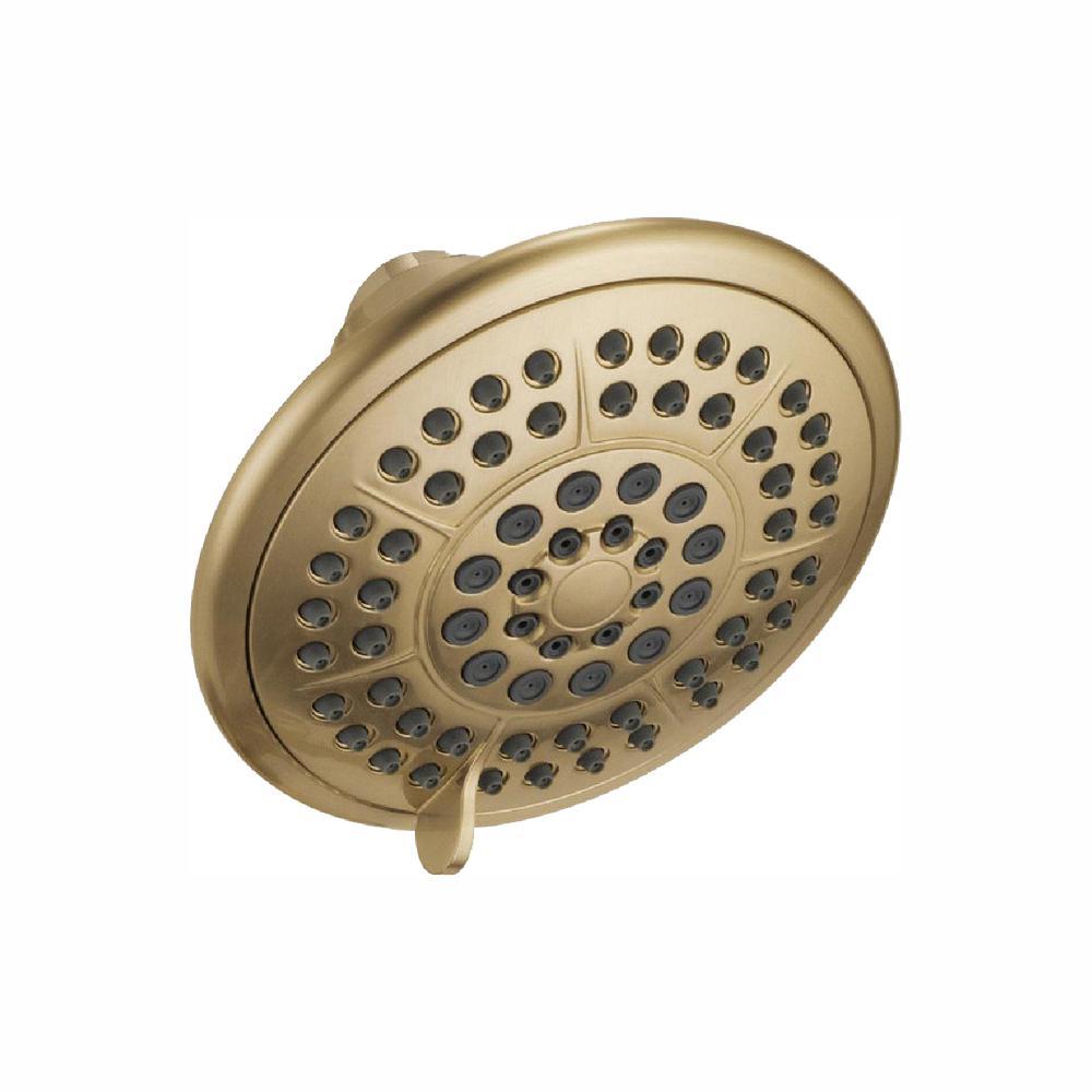 5-Spray 4.3 in. Single Wall Mount Fixed Rain Shower Head in Champagne Bronze