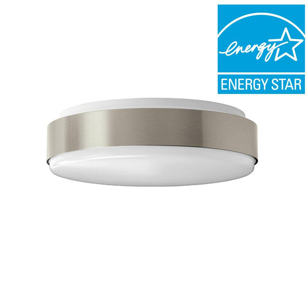 Hampton Bay 11 in. Brushed Nickel Bright/Cool White Round Integrated LED Flushmount Ceiling Light Fixture