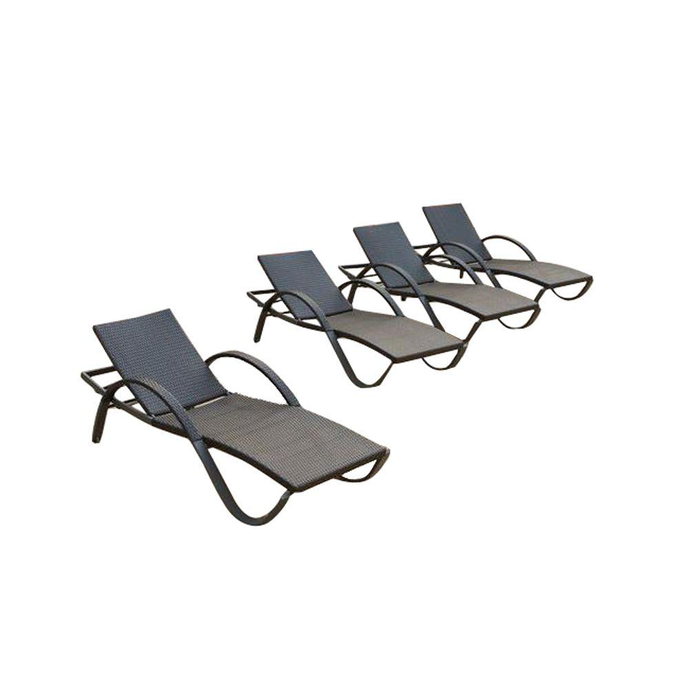 Deco 4-Piece Wicker Outdoor Chaise Lounge