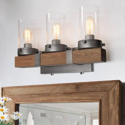 3-Light Silver Farmhouse Transitional Chestnut Wood Vanity Light Decorative Seeded Glass Wall Sconce LED Compatible