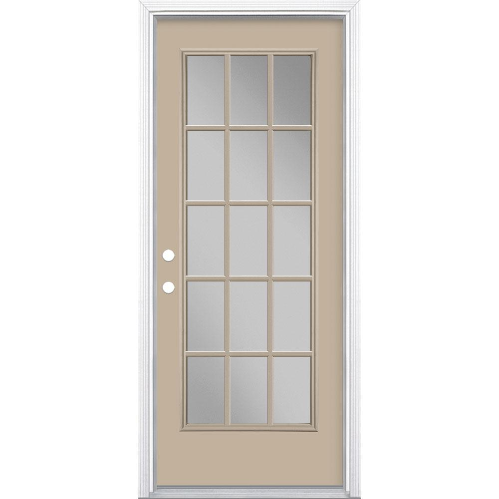 Masonite 32 in. x 80 in. Canyon View 15 Lite Right-Hand Clear Glass Painted Steel Prehung Front Door Brickmold/Vinyl Frame