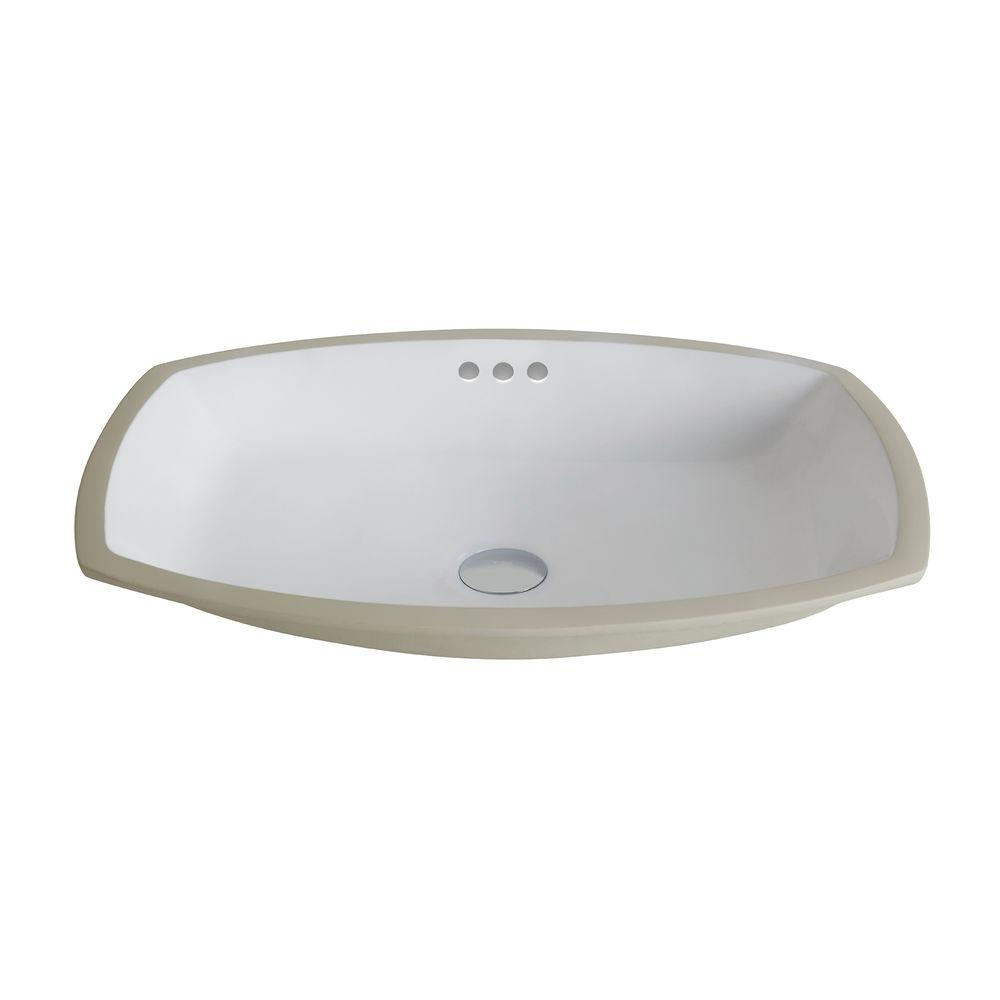 Elavo Flared Rectangular Ceramic Undermount Bathroom Sink in White with Overflow