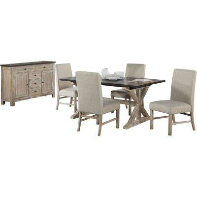 Ellington 6-Piece Dining Set with Expandable Trestle Table and 4-Fabric Chairs and Sideboard