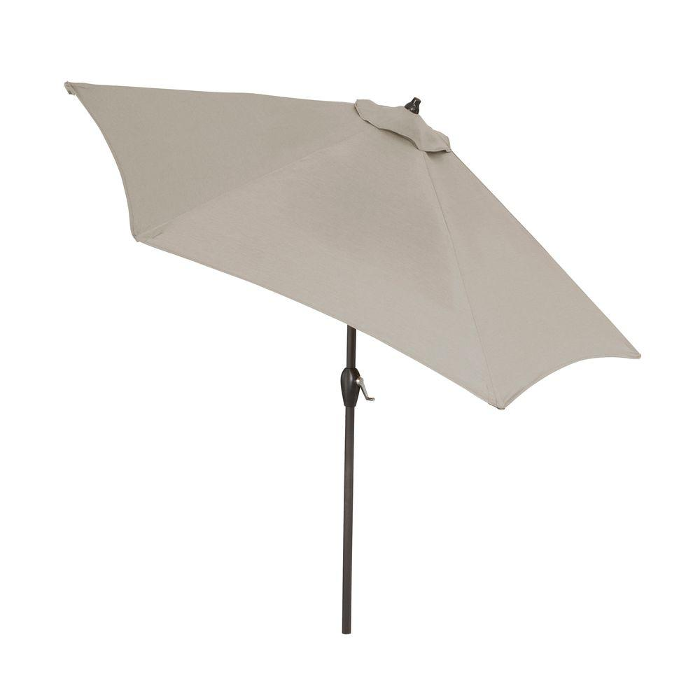 Hampton Bay 9 Ft Aluminum Patio Umbrella In Gray With Push On Tilt