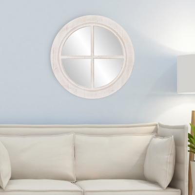 Window Pane Round Distressed White Decorative Mirror