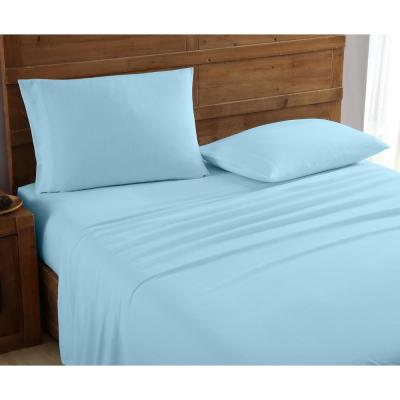 Geraldine 100% Cotton Light Blue Flannel King Sheet Set