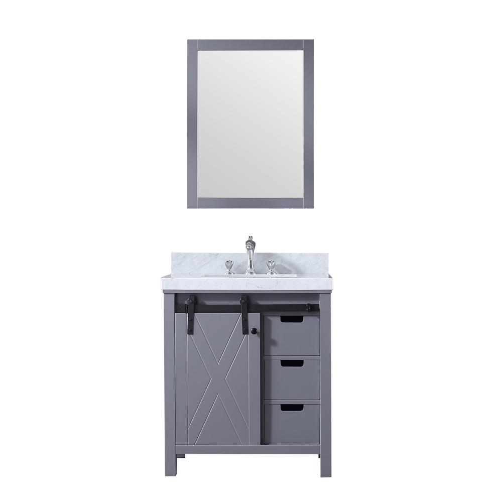 Lexora Marsyas 30 in. Single Bath Vanity in Dark Grey w/ White Carrera Marble Top w/ White Square Sink and 28 in. Mirror