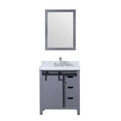 Marsyas 30 in. Single Bath Vanity in Dark Grey w/ White Carrera Marble Top w/ White Square Sink and 28 in. Mirror