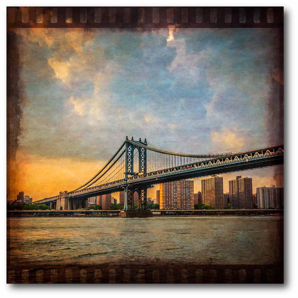 Courtside Market NYC bridge II Gallery-Wrapped Canvas Nature Wall Art 24 in. x 24 in., Multi Color was $115.0 now $64.03 (44.0% off)
