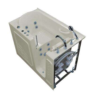 HD Series 53 in. Right Drain Quick Fill Walk-In Whirlpool Bath Tub with Powered Fast Drain in Biscuit