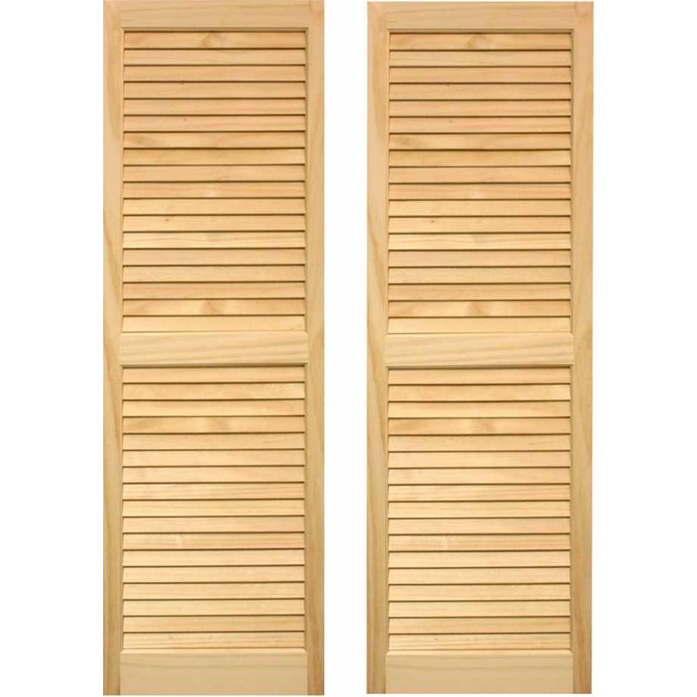null 15 in. x 43 in. Cedar Exterior Louvered Shutters Pair