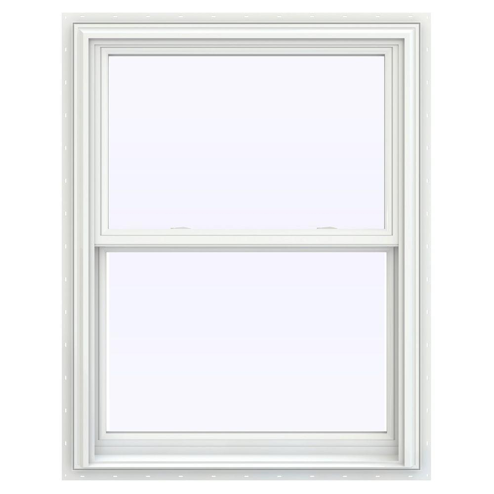 31.5 in. x 47.5 in. V-2500 Series White Painted Vinyl Double