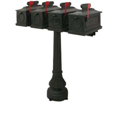 1812 Sutherland 4-Compartment Plastic Black Mailbox with Post