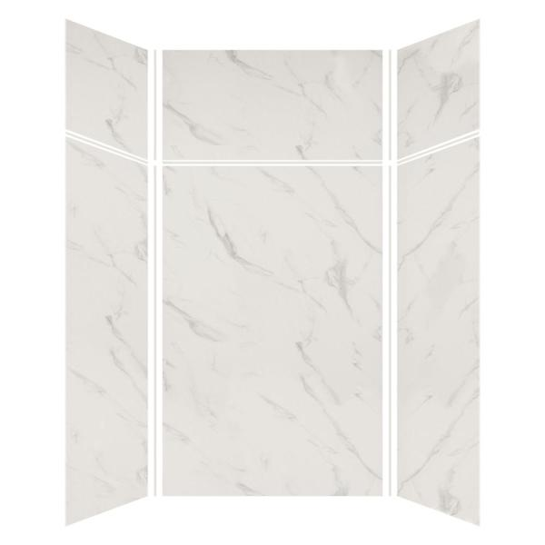 Transolid Expressions 48 In X 48 In X 96 In 4 Piece Easy Up Adhesive Alcove Shower Wall Surround In Bianca Ewkx484896 41 The Home Depot