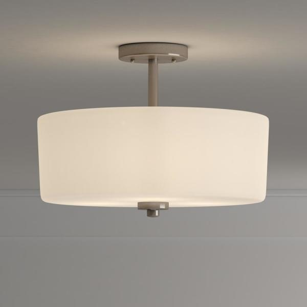 Hampton Bay 14 In 3 Light Brushed Nickel Semi Flush Mount With White Glass Drum Shade 89543 The Home Depot