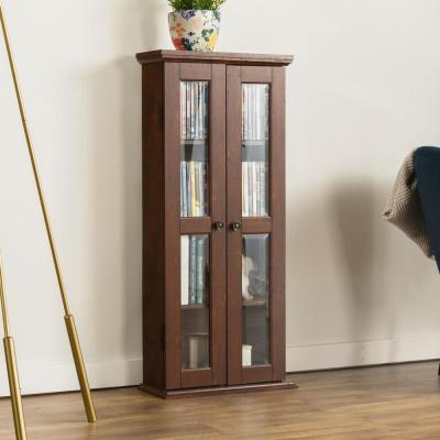 """41"""" Traditional Wood Bookcase Storage Cabinet- Brown"""