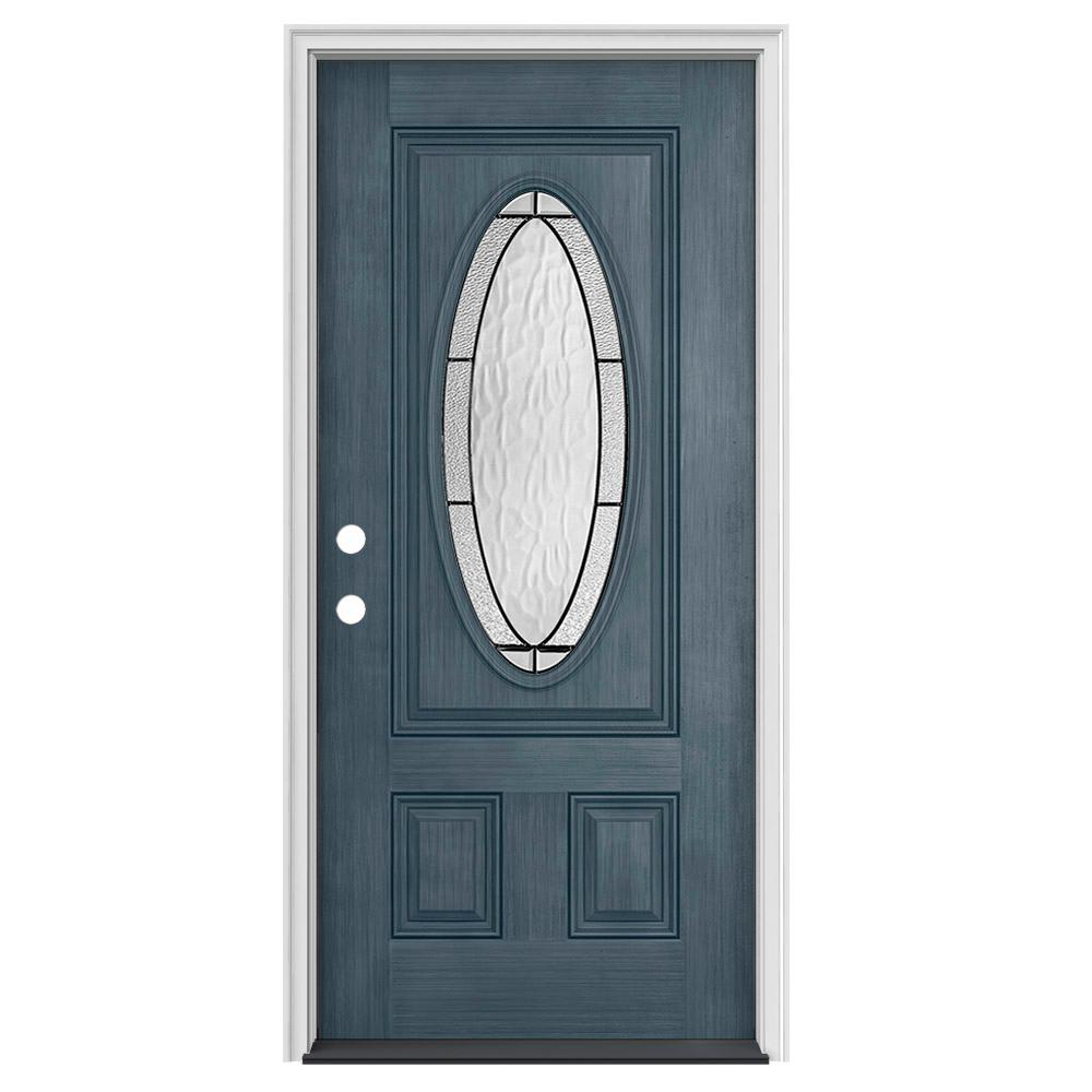 Jeld Wen 32 In X 80 In 3 4 Oval Lite Wendover Denim Stained Fiberglass Prehung Right Hand