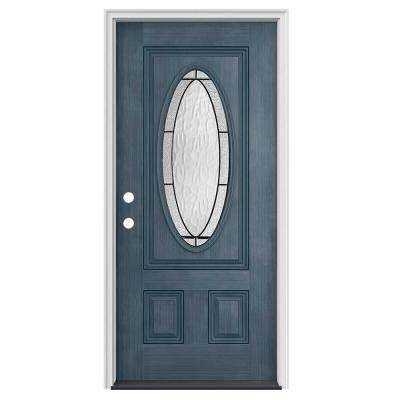 36 in. x 80 in. 3/4 Oval Lite Wendover Denim Stained Fiberglass Prehung Right-Hand Inswing Front Door