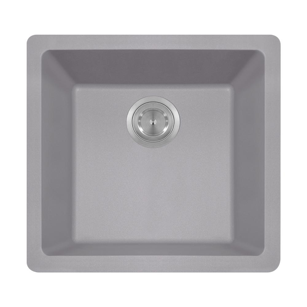 Dualmount Composite 18 in. Single Bowl Kitchen Sink in Si...