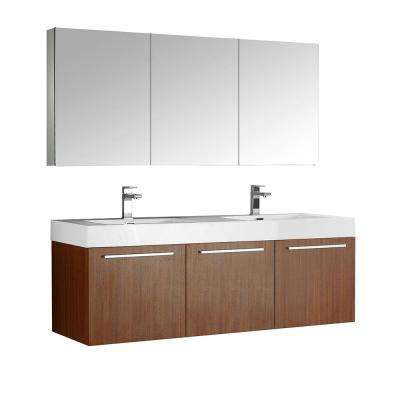Vista 59 in. Vanity in Teak with Acrylic Vanity Top in White with White Basins and Mirrored Medicine Cabinet