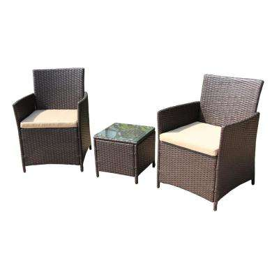 Brown 3-Piece Wicker Patio Conversation Set with Cream Cushions