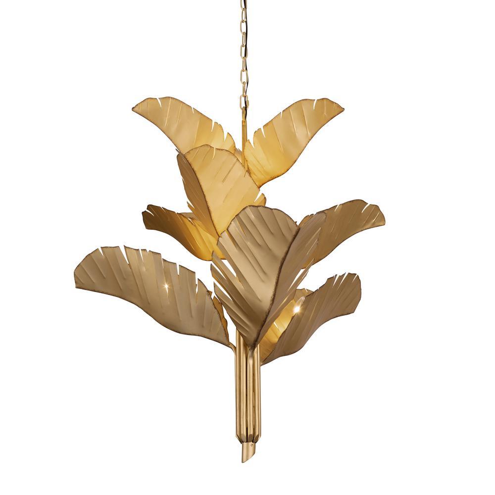 Banana Leaf 9-Light Gold Candlestick Chandelier