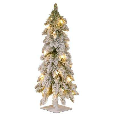 Snowy Downswept 24 in. Artificial Forestree with Metal Plate and 50 Clear Lights