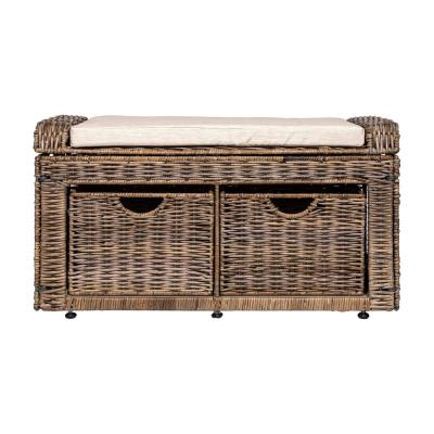 Gray Palermo 20 in. x 34.50 in. x 15 in.  2-Drawer Wicker Storage Bench