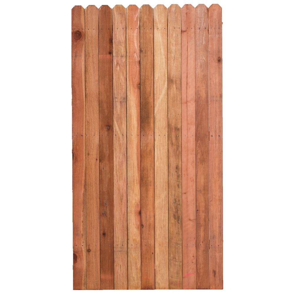 3 ft. H W x 6 ft. H Construction Common Redwood Dog-Ear Fence Gate