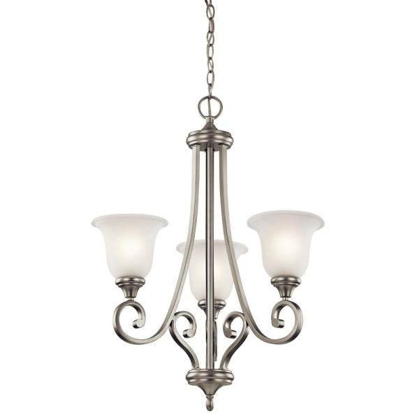 Monroe 3-Light Brushed Nickel Chandelier with White Etched Glass Shade