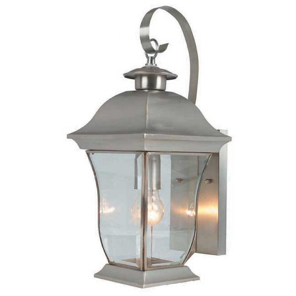 Bel Air Lighting Wall Flower 1 Light Brushed Nickel Outdoor Coach Lantern Sconce With Clear Gl