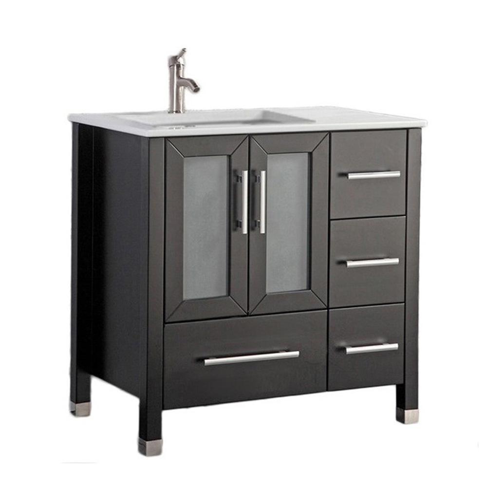 Salem-L 36 in. W x 22 in. D x 40 in. H Vanity in Espresso with Microstone Vanity Top in White with White Basin