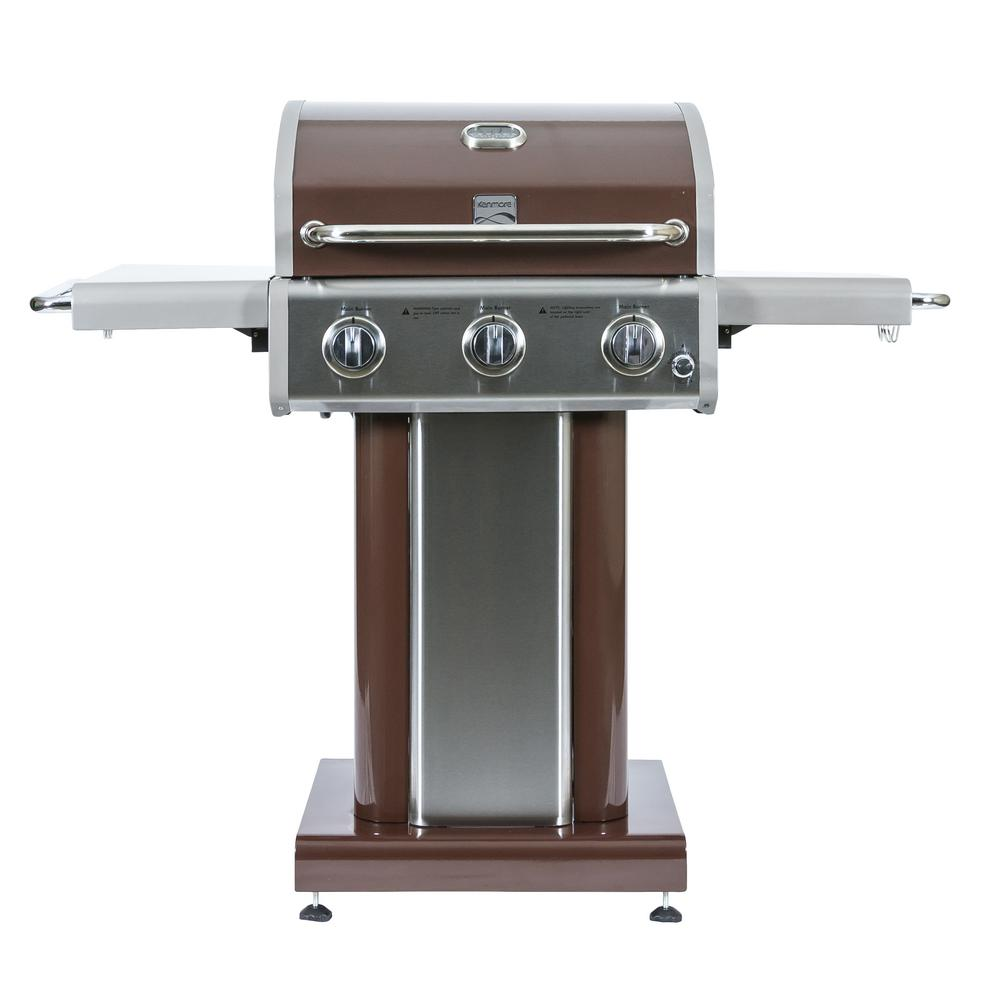 Kenmore 3 Burner Propane Gas Grill In Mocha With Folding Shelves