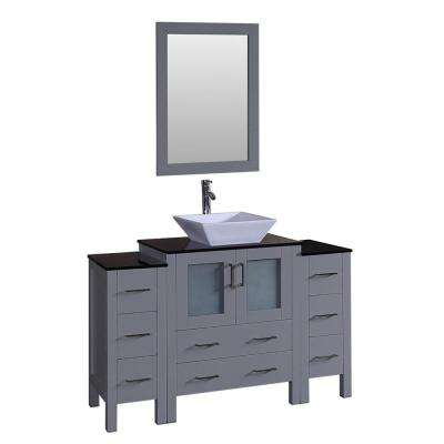 54 in. W Single Bath Vanity with Tempered Glass Vanity Top in Black with White Basin and Mirror