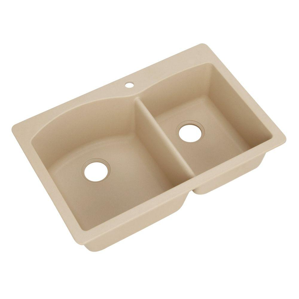Blanco Diamond Dual Mount Composite 33x22x9.5 in. 1-Hole Double Basin Kitchen Sink in Biscotti