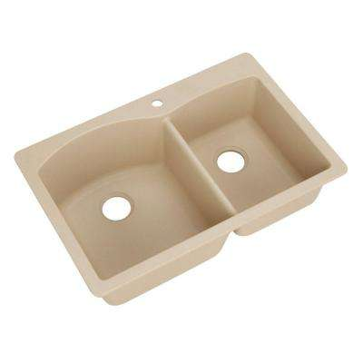 Diamond Dual Mount Granite Composite 33 in. 1-Hole Double Bowl Kitchen Sink in Biscotti