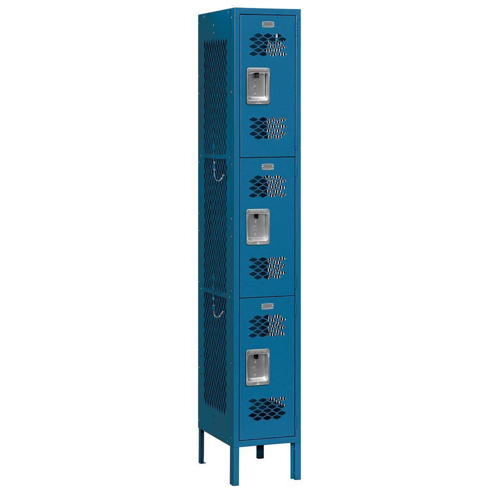 Salsbury Industries 73000 Series 12 in. W x 78 in. H x 12 in. D 3-Tier Vented Metal Locker Assembled in Blue