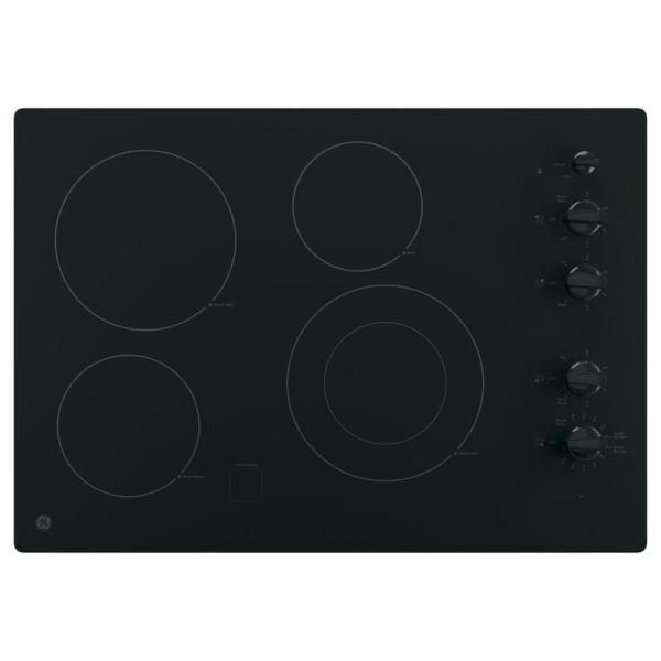 30 in. Radiant Electric Cooktop in Black with 4 Elements including Power Boil