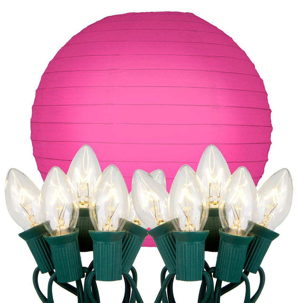10 in. 10-Light Fuchsia Paper Lantern String Lights