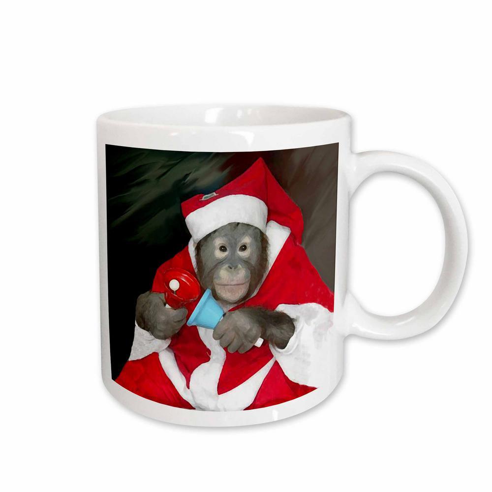 Holidays 11 oz. White Ceramic Christmas Monkey Mug
