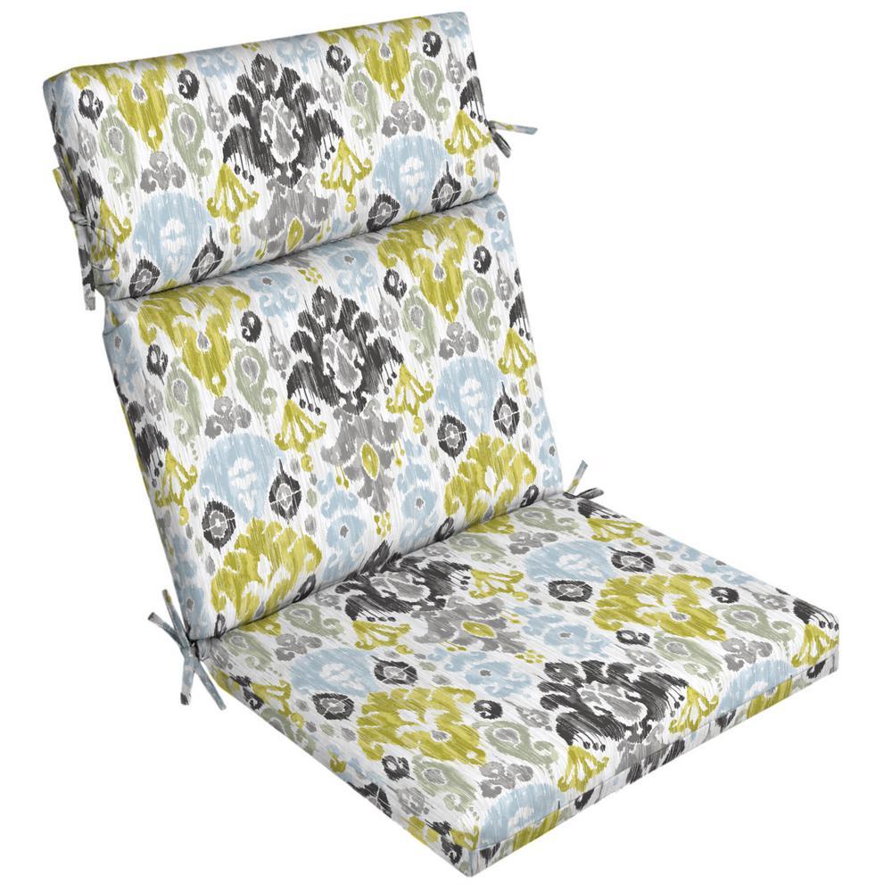 Aquamarine Kenda Ikat Outdoor Dining Chair Cushion
