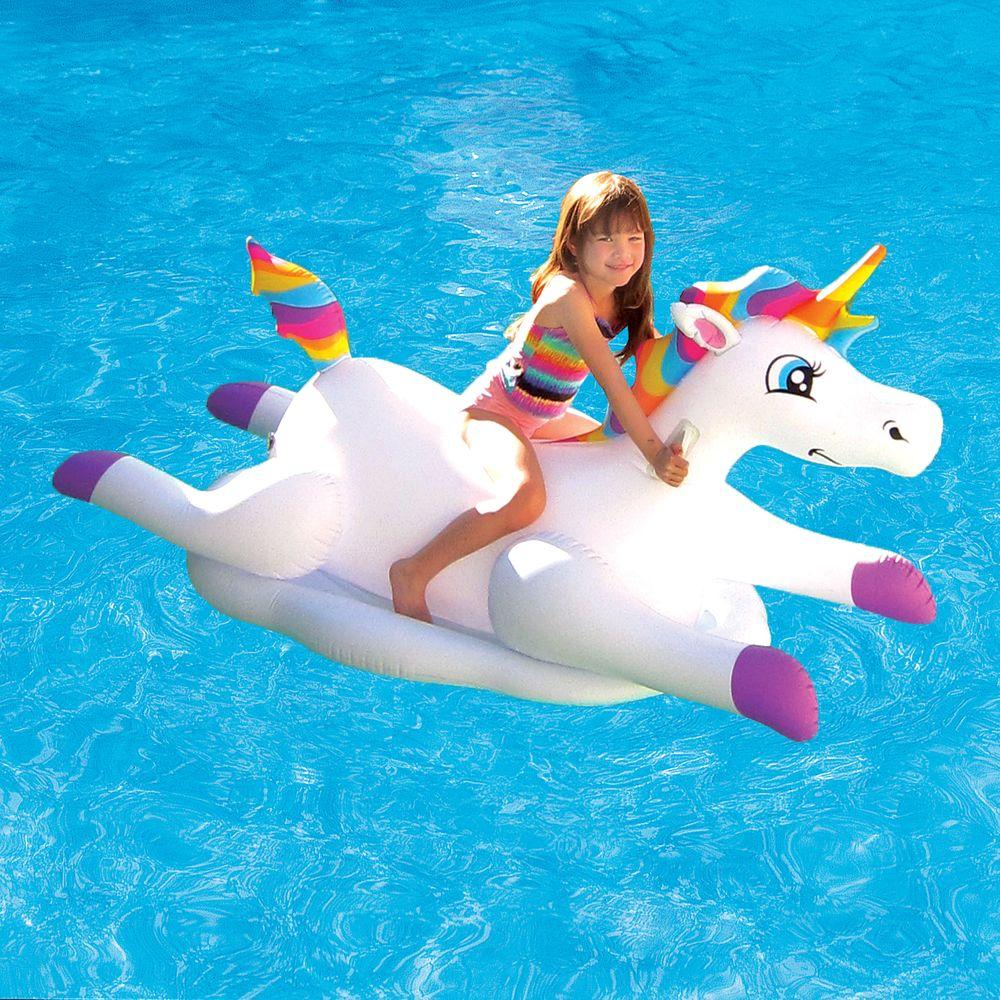 Blue Wave Cloud Rider Rainbow Unicorn Inflatable Ride On Pool Float