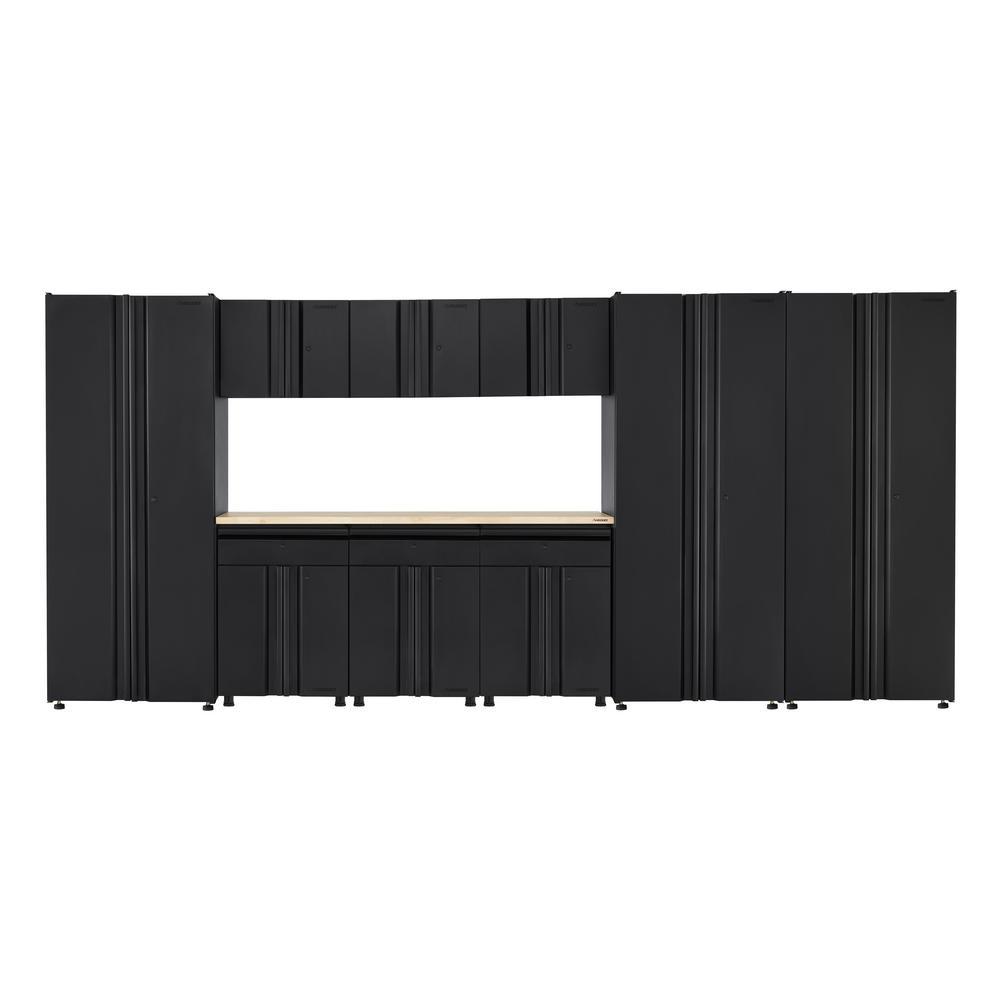 Husky Welded 163 in. W x 75 in. H x 19 in. D Steel Garage Cabinet Set in Black (10-Piece with Solid Wood Work Surface), matte