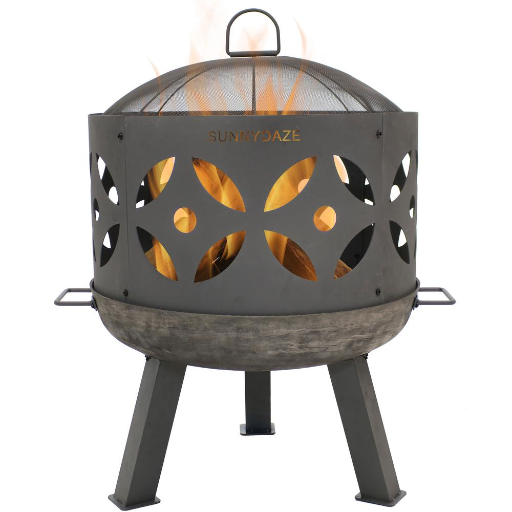 Sunnydaze Decor 26 in. x 29 in. Round Cast Iron Retro Outdoor Wood Fire Pit Bowl in Gray with Spark Screen
