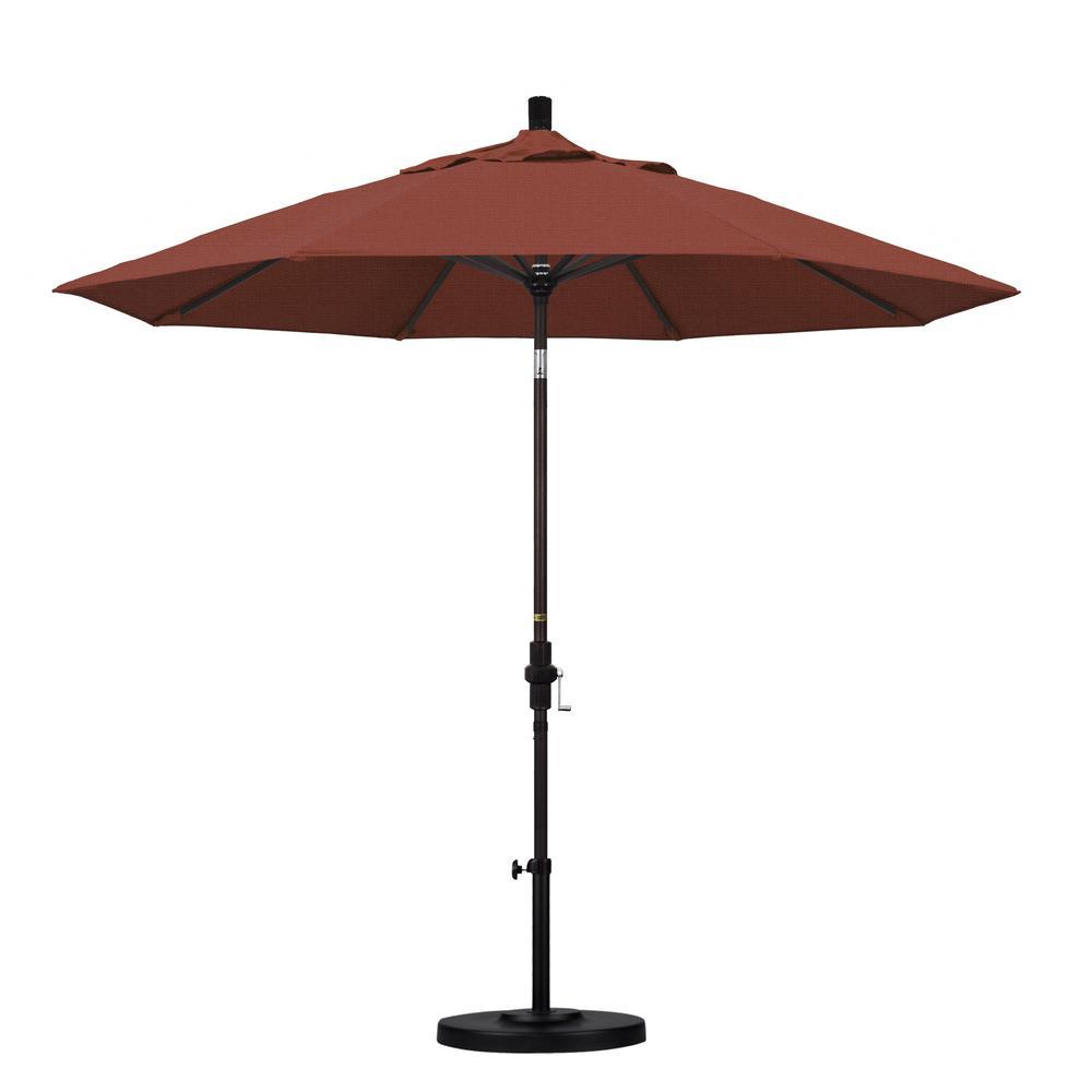 9 ft. Aluminum Collar Tilt Patio Umbrella in Terracotta Olefin