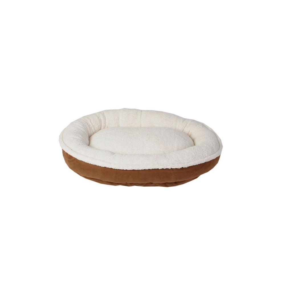 Cloud Sherpa & Faux Suede Comfy Cup Medium Chocolate Bed
